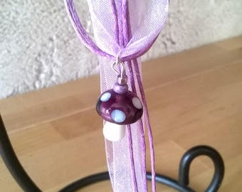 Purple and purple mushroom necklace