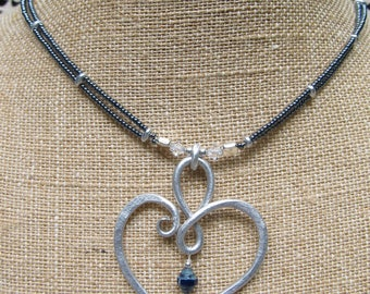 Aluminum Wire Heart Seed Bead Necklace & Earrings Set