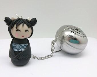 Black tea Kokeshi ball polymer clay