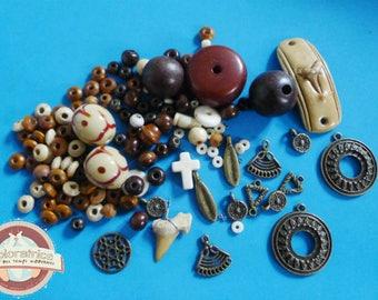 122 beads ethnic orange beige bone glass ceramic stone wood metal bronze