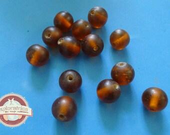 round 16 Indian glass beads matte orange 13mm