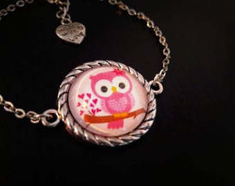 Pink OWL bracelet, 20mm glass cabochon, OWL pattern pink on a branch