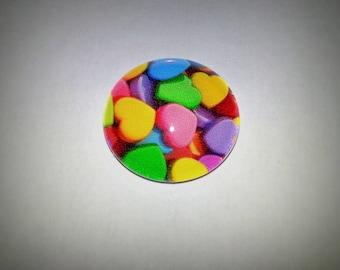 Heart cabochon, glass round 20mm, multicolored hearts
