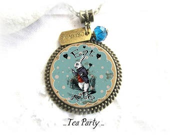 Alice in Wonderland Jewelry, Alice Rabbit Necklace, bronze jewelry,Tea Party, Alice Necklace, The White Rabbit, Eat-Me, Drink Me