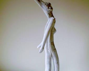 Personnage fantastique en bois flotté patiné et sculpté - Création unique