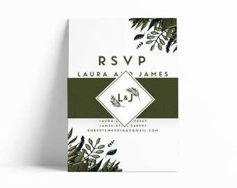 Botanical Belly Band Wedding Invitation Bundle | Wedding Stationery | Bride to be | Tumblr Wedding | Foiled Invitations | Pocketfold Invites