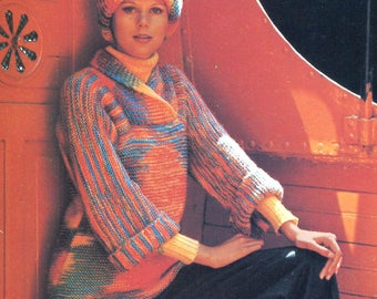 Rainbow Pullover Knitting Pattern - Wide fold-over collar, Long Sleeves, Long Torso
