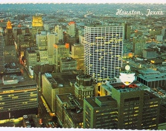Vintage Postcard 1960's - Houston, Texas Skyline Lights of downtown Astrocard