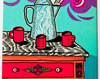 Vintage Postcard- 1960s Coffee Anyone? Coffee Pot and Mugs on Countertop