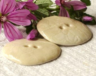 Set of 2 soft beige and glossy porcelain buttons