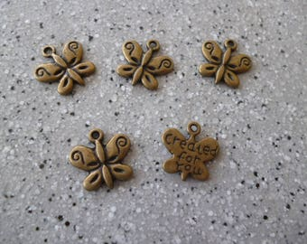 5 bronze metal Butterfly charms