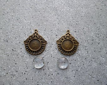2 round cabochons supports bronze metal with 12 mm cabochons
