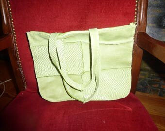 How green leather patchwork handbag