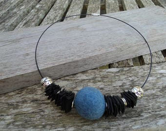 The Choker necklace made with recycled tractor inner and Pearl blue felt
