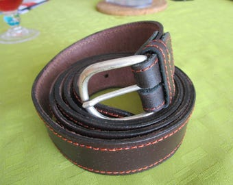 orange leather fashion belt