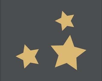 Stars. Three small stars. Adhesive vinyl stencil. (ref 190)