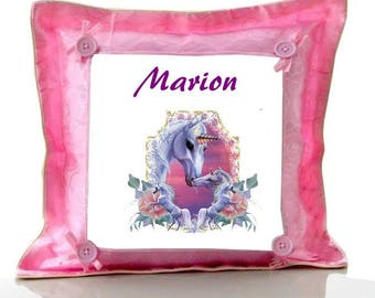 Cushion Pink Unicorn personalised with name