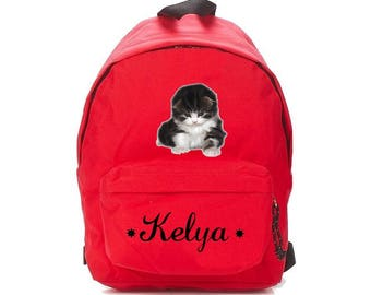 Red kitten backpack personalized with name