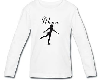 Girl skating personalized with name long sleeve t-shirt