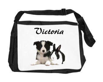 Shoulder bag dog and rabbit personalized with name