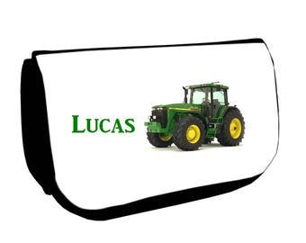 Cosmetic case Black /crayons tractor personalized with name