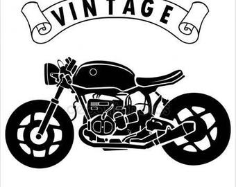 "P.V.C 200 Micron ""vintage motorcycle"" stencil reusable 20 x 16 cms (possible other sizes)"