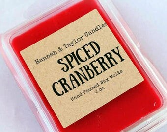 Spiced Cranberry Wax Melt | Handmade Wax Tart | Fall Scent Wax Tart | Gift Under 10 | Cinnamon Scented Candle | Cranberry Scent Soy Wax Melt