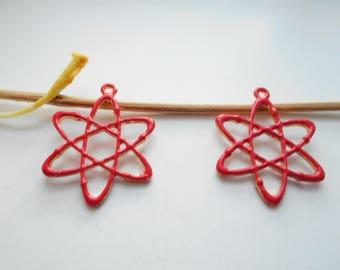 x 2 red enameled molecule pendant