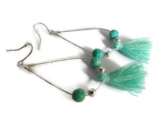 Earrings Silver earrings with pretty green tassels and matching beads