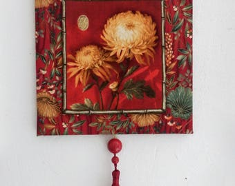 Textile painting, Asian flowers
