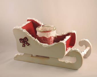 wooden sled, table decoration, Christmas, door candle, candy.