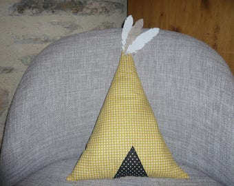 pillows with teepee and feathers, mustard yellow graphic pattern