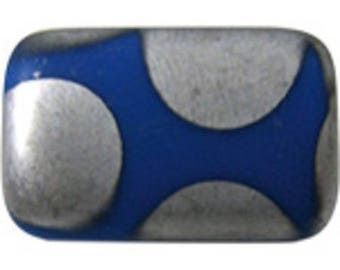 4 beads rectangle 19 * 12mm matte dark blue glass with silver dots (FOP05)