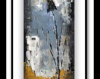 Modern art  painting flower 24x12 / Peinture Art moderne fleur