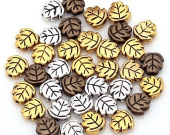 10 beads mix color leaf shape silver metal, antique gold and bronze 7mm