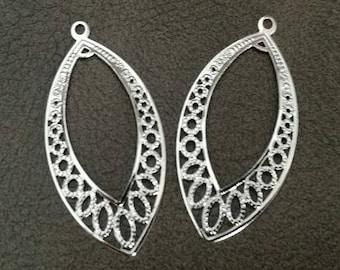 4 beautiful silver filigree connectors pendants crimp 37 * 20mm (approx)