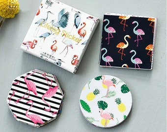 44 stickers, theme, jungle, Flamingo, various shapes