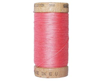 Thread 100% cotton organic coral - 100 meters - certified eco-friendly