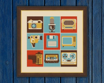 Retro Media Collage - cross stitch pattern PDF | Vintage cross stitch | Retro cross stitch