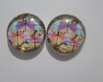 Nice set of 2 cabochon round coasters with images of dragonflies 20 mm pink purple and blue