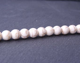 20 round beads of howlite 8 mm - Brown white ribbed (PG0306)