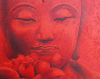 "Acrylic painting on canvas: Red Buddha (""Scarlet"" series)"