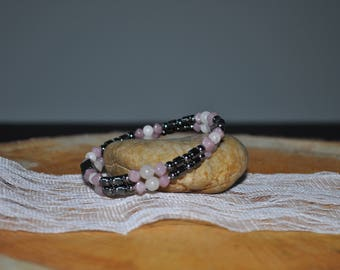 Pink and Pearl 2 Strand Magnetic Hematite Bracelet