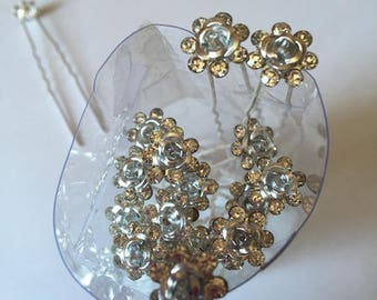 10 hair pins, 70 mm long, 6 petal rhinestone flower aluminum silver metal