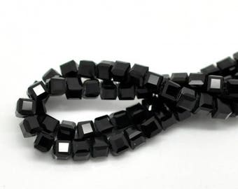 100 PF12 black crystal cube beads