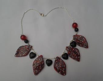 Necklace mosaic black leaves and hearts