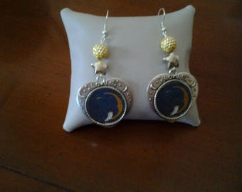 Columbine on Crescent Moon earrings