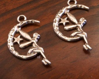 10 charms fairy on a Crescent Moon silver 26x14mm