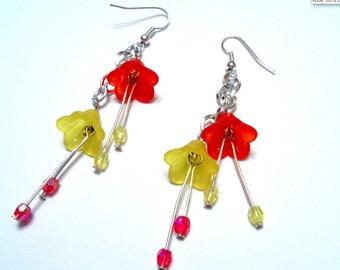 Earrings lucite flowers cascade