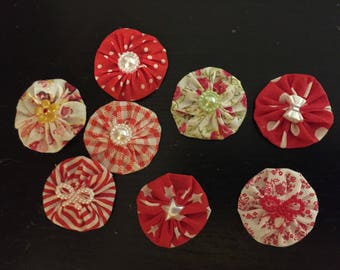 8 flowers kanzashi flower fabric yoyo, made hand, to customize your creations, embellishment purse, hairclip, brooch, scrapbooking, flower